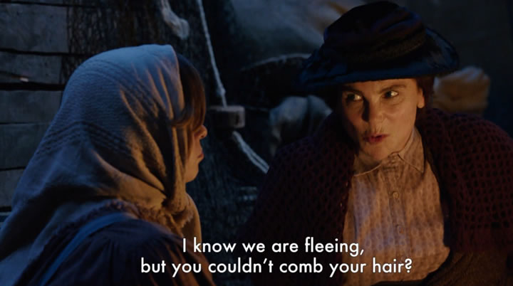 """I know we are fleeing, but you couldn't open your hair?"""