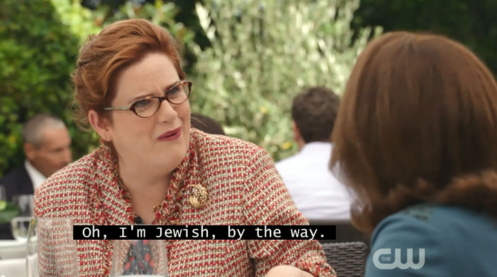 """Oh, I'm Jewish, by the way."""
